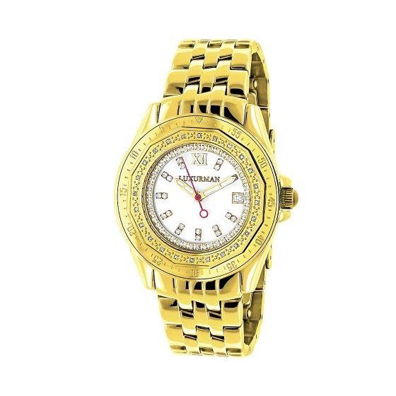 Womens Genuine Diamond Watch 0.25ct Yellow Gold Luxurman MOP Leather Strap 1