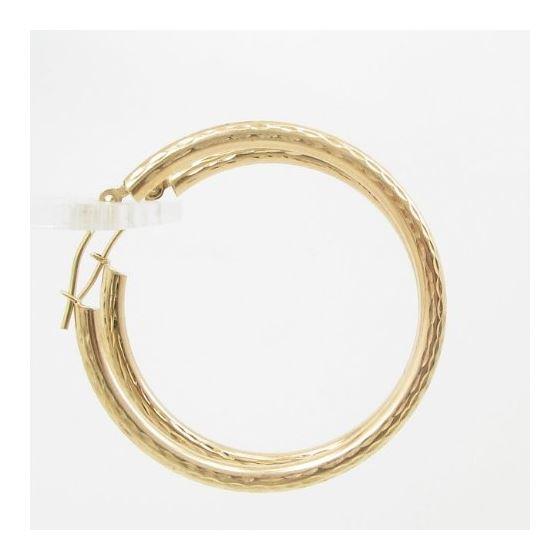 10k Yellow Gold earrings Diamond cut hoop AGBE6 3