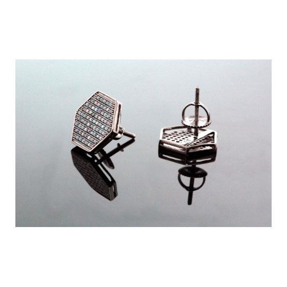 .925 Sterling Silver Black Hexagon Black Onyx Crystal Micro Pave Unisex Mens Stud Earrings 13mm 3
