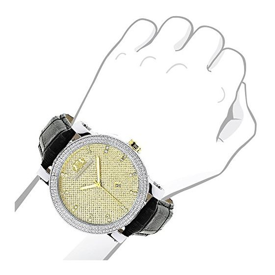 New White And Yellow Gold Luxurman Mens Diamond Watch 0.18ct Black Leather Band 3