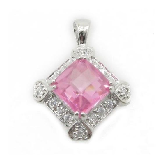 Ladies .925 Italian Sterling Silver fancy pendant with pink stone Length - 23mm Width - 17mm 1