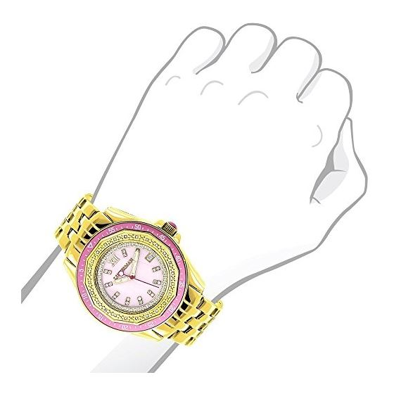 Yellow Gold Plated Ladies Real Diamond Pink Watch 0.25ct Luxurman Steel Band 3