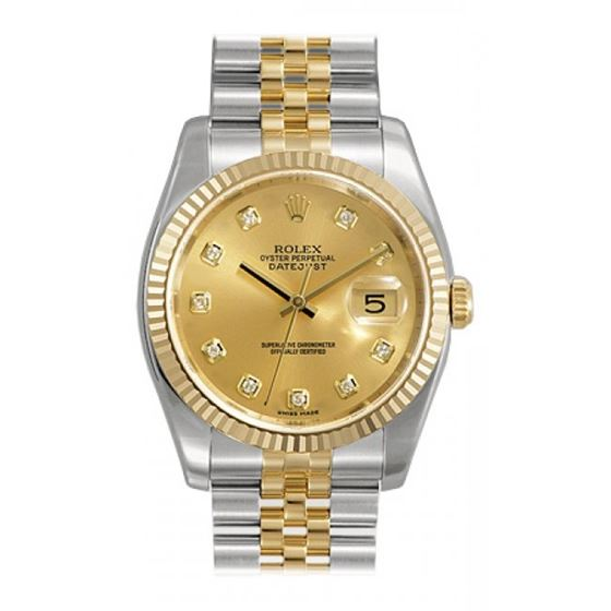 Rolex Datejust Champagne Diamond Dial Ju 53813 1