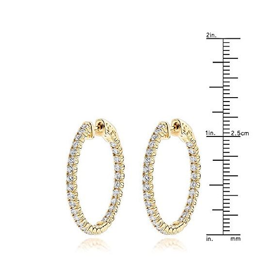 1 Inch Inside Out Natural 2 Ctw Diamond Hoop Ear-3