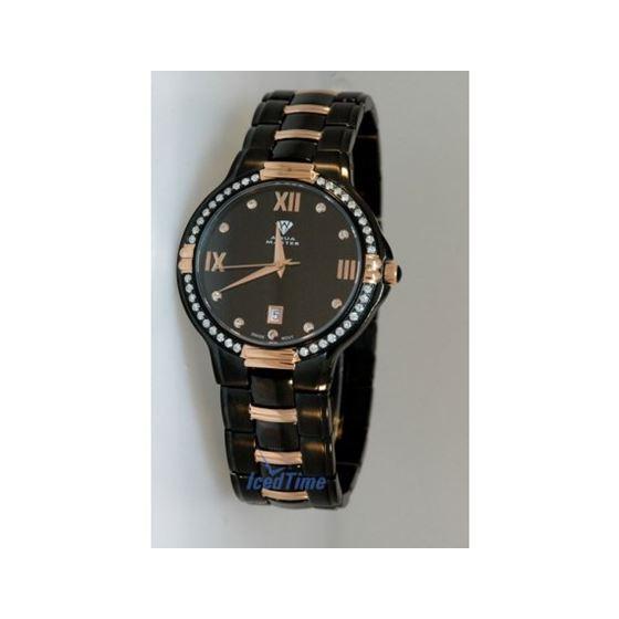 Aqua Master Swiss Classica Round 1.00 ct Diamond Mens Watch Rose Gold