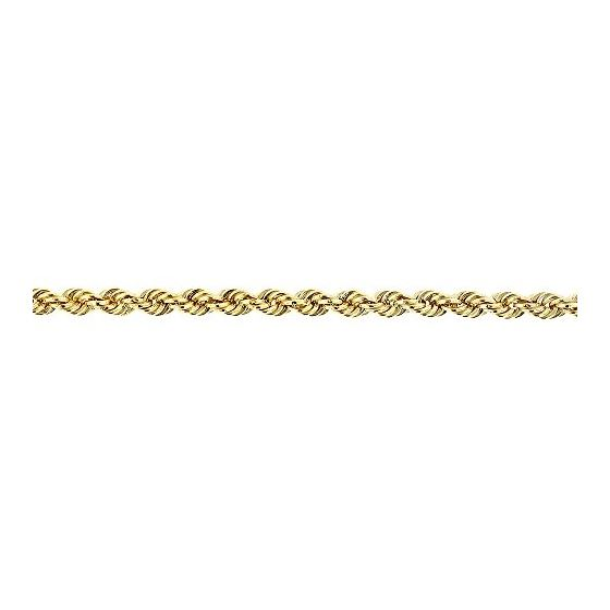 10K Yellow Gold 2.7mm Wide Hollow Rope Chain Necklace with Lobster Clasp (22 inches) 3