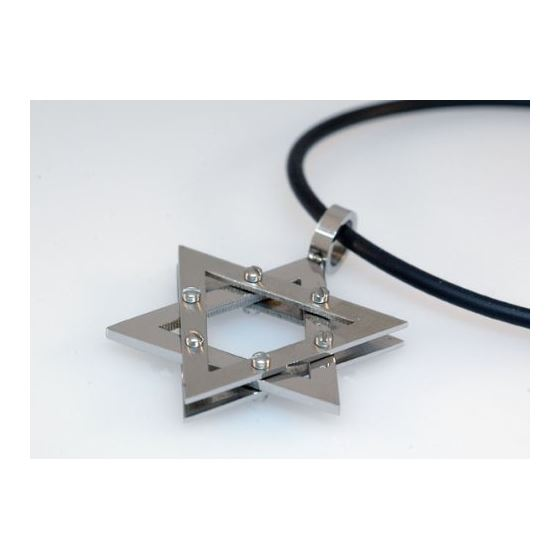 Stainless Steel Star of David Pendant Three Layers