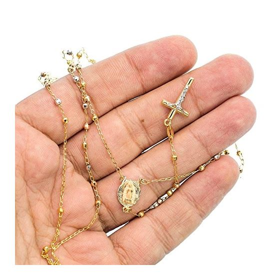 14K YELLOW Gold HOLLOW ROSARY Chain - 28 Inches Long 2.4MM Wide 3