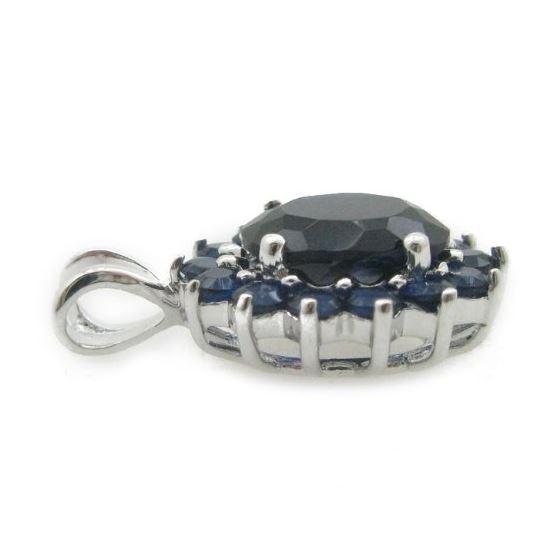 Ladies .925 Italian Sterling Silver fancy pendant with dark blue stone Length - 20mm Width - 13mm 3