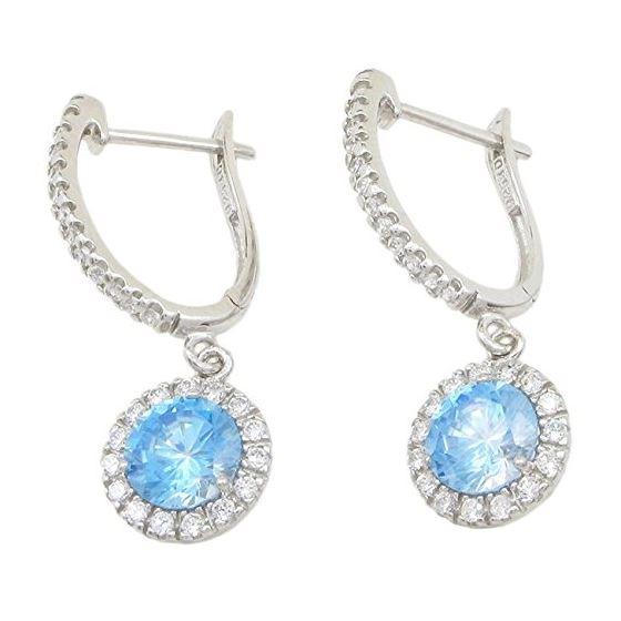 Womens Light blue cubic zirconia drop cz chandelier earring Silver15 1