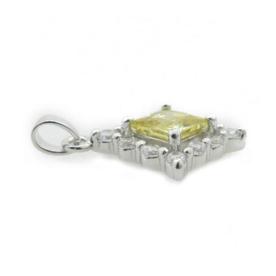 Ladies .925 Italian Sterling Silver fancy pendant with yellow stone Length - 26mm Width - 19mm 3