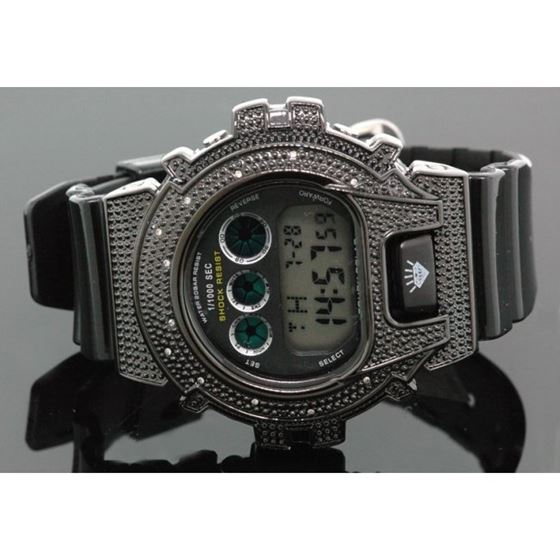 Ice Plus Mens Diamond Shock Style Watch Black Case Black Band 1