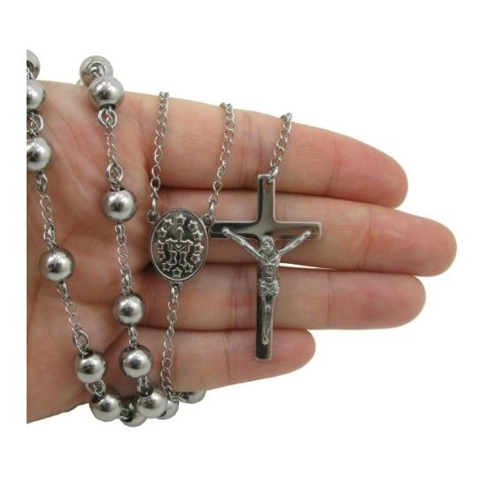 Mens Stainless Steel Silver Tone Rosary Chain Necklace with Cross 8MM 3