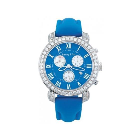 Benny Mens 3ctw Diamond Watch Blue