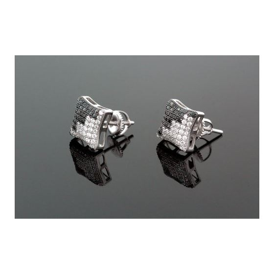 Sterling Silver Unisex Fashion Hand Set Stud Earrings ME0218d 1