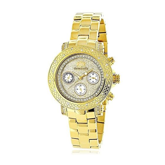 Luxurman Ladies Diamond Watch 0.3ct Yellow Gold Plated Interchangeable Straps 1