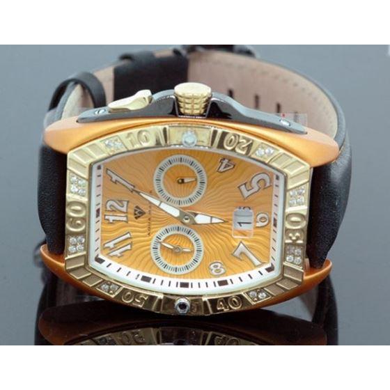 Aqua Master Tonneau 0.50 ct Diamond Mens Orange Watch
