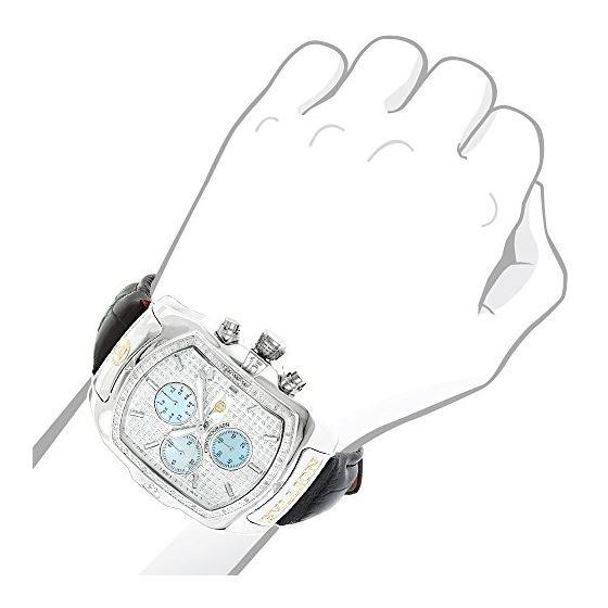 Large Watches: Luxurman Bullion Real Diamond Watch For Men 0.18ct Chronograph 3