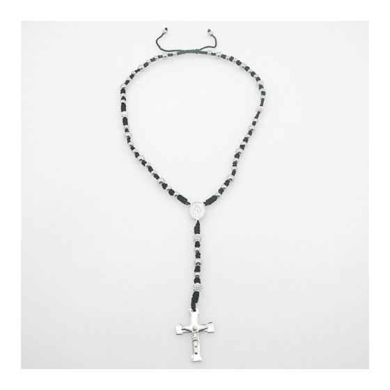 """""""Stainless Steel Rosary Necklace with Cross R143 ball 8 mm"""
