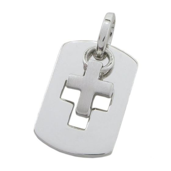 Dog tag and cross pendant SB15 28mm tall and 17mm wide 1