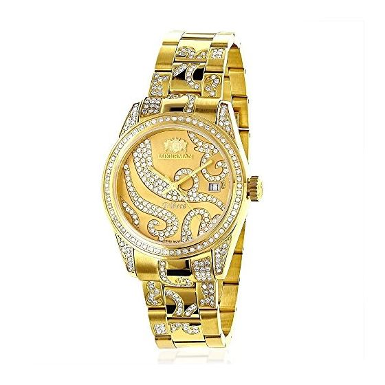 Iced Out Tribeca Ladies Real Diamond Watch 18k Yellow Gold Plated