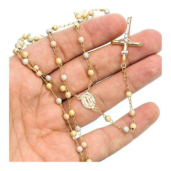 14K 3 TONE Gold HOLLOW ROSARY Chain - 28 Inches Long 4.05MM Wide 3