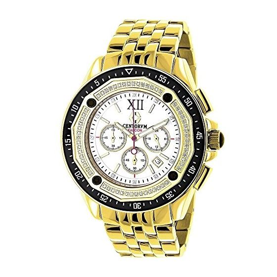 Centorum Large Falcon Mens Real Diamond Watch 0.55ct Chronograph White MOP 1
