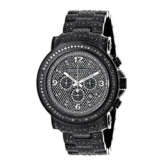 Fully Iced Out Oversized Genuine Black Diamond Mens Watch by Luxurman 4.25ct 1