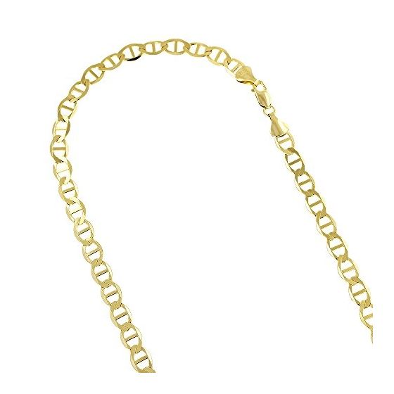 10K Yellow Gold 5.50mm Diamond Cut Mariner Link Solid Chain Bracelet with Lobster Clasp 1