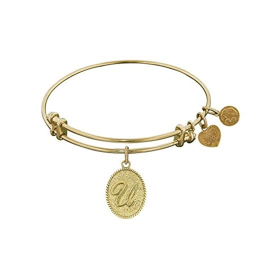 Angelica Ladies Initials Collection Bangle Charm 7.25 Inches (Adjustable) GEL1175
