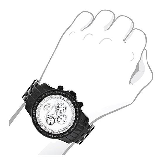 Black Genuine Diamond Watches: Luxurman Phantom Heavy Mens Watch 2.25ct 3