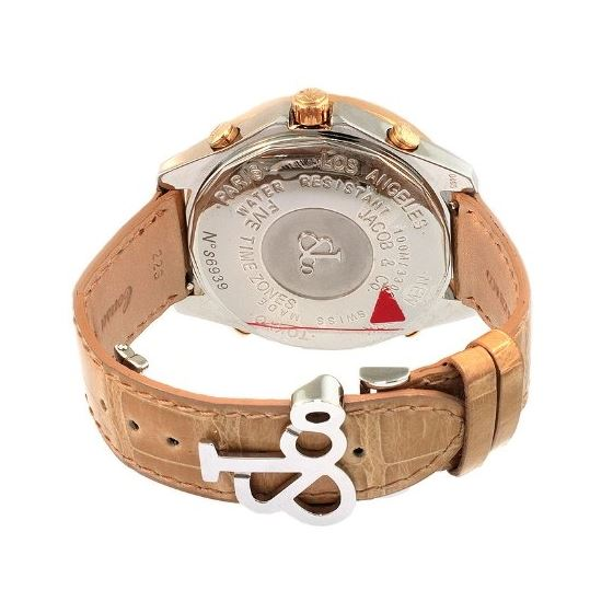 Jacob Co. 18K Rose Gold Leather Band 5Time Zone-3