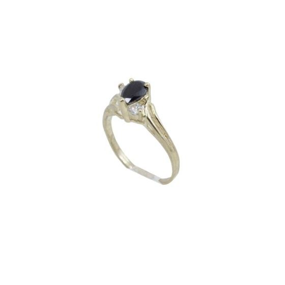 10k Yellow Gold Syntetic black gemstone ring ajr28 Size: 6.75 1