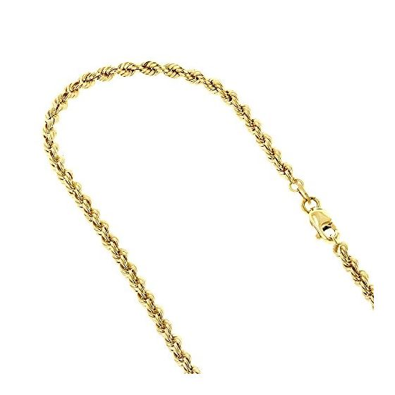 10K Yellow Gold 2.7mm Wide Hollow Rope Chain Necklace with Lobster Clasp (22 inches) 1