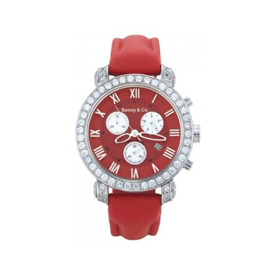 Benny Mens 3ctw Diamond Watch Red