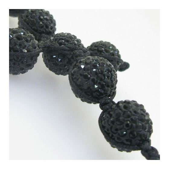 Mens beaded chain crystal gemstone bracelet ball pave necklace black macrame rosary with extended cr