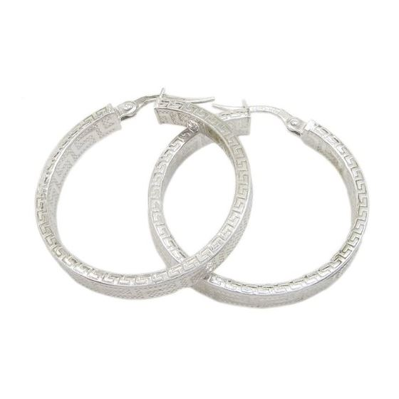 Round greek key hoop earring SB89 31mm tall and 31mm wide 1