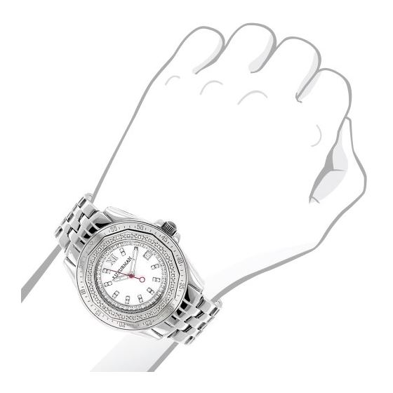 Ladies Real Diamond Watch 0.25ct By Luxurman White MOP Leather Band Japan Movt 3