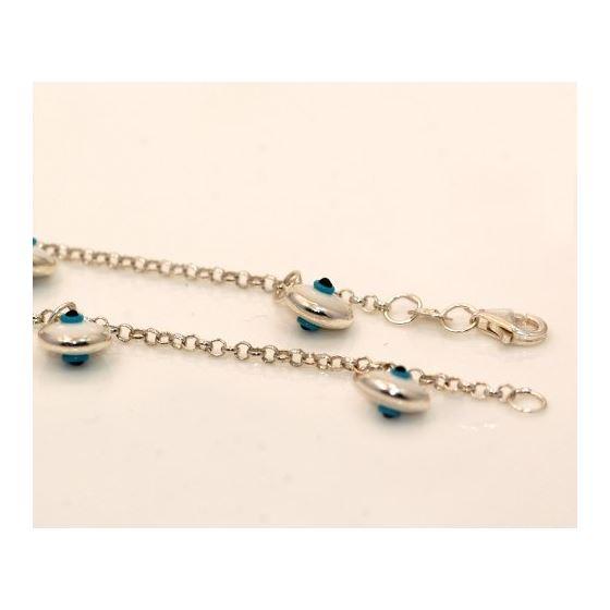 """""""Evil Eye Murano Glass Bead Designer Sterling Silver Bracelet ST08"""
