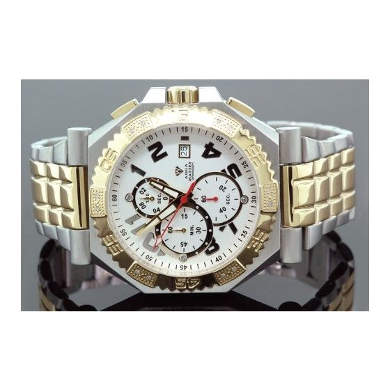 Mens Swiss Made Two Tone Sports Diamond Watch 0.12