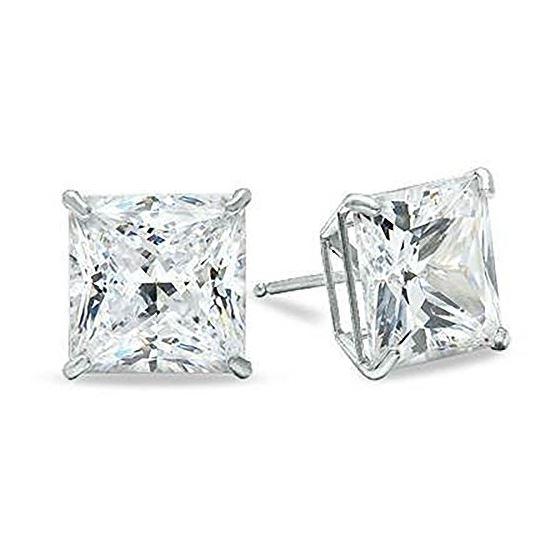 14K White Gold Princess Cut Stud Earrings 2 3 4 5 6 7 8 9 10 (9 Millimeters) 1