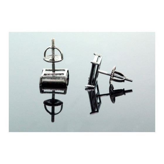.925 Sterling Silver Black Square Black Onyx Crystal Micro Pave Unisex Mens Stud Earrings 10mm 3
