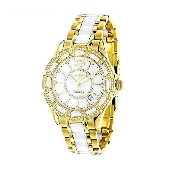 Luxurman Ladies Real Diamond Ceramic Watch 1.25ct White MOP Galaxy Yellow Gold 1