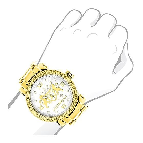 Phantom Yellow Gold Plated Genuine Diamond Watch for Men by Luxurman 0.12ct 3