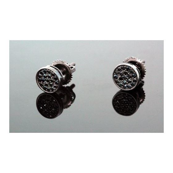 .925 Sterling Silver Black Circle Black Onyx Crystal Micro Pave Unisex Mens Stud Earrings 6mm 1
