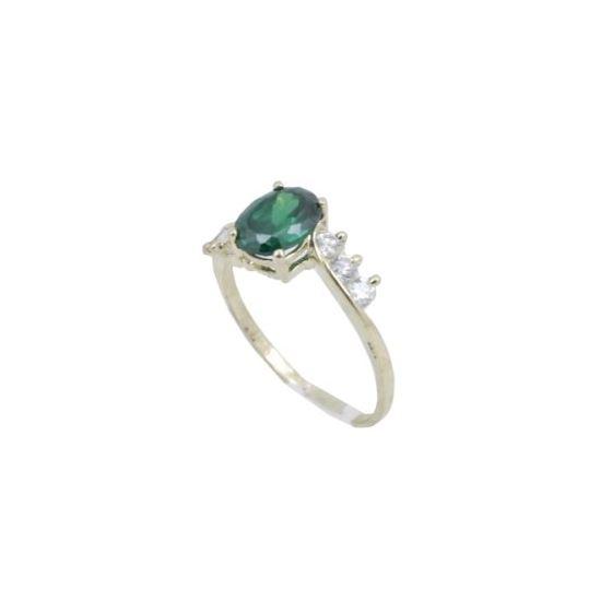 10k Yellow Gold Syntetic green gemstone ring ajr8 Size: 8 1