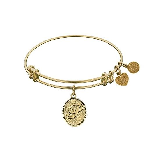 Angelica Ladies Initials Collection Bangle Charm 7.25 Inches (Adjustable) GEL1170