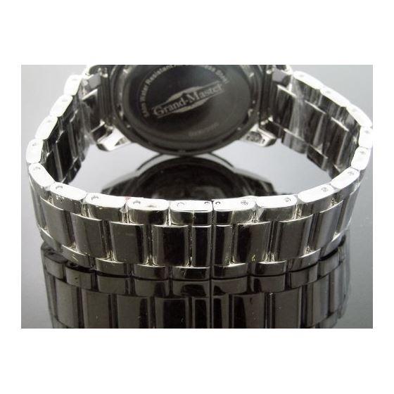 Aqua Master Diamond Band One Row 5.75ct Diamonds 37mm Round Silver Face 3