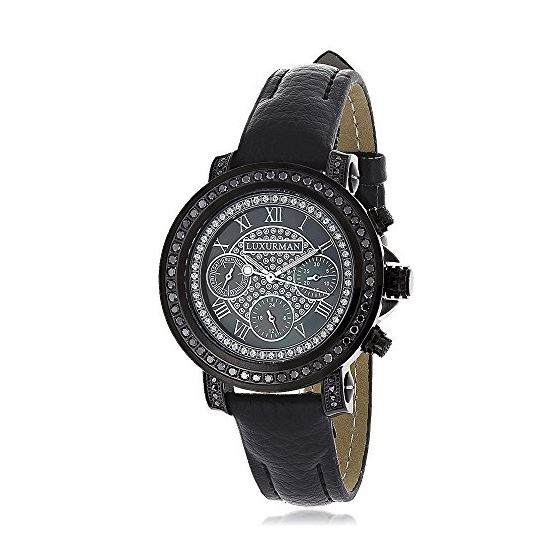 Ladies Large Black Real Diamond Watch 2.15ct LUXURMAN Watches Mother of Pearl 1