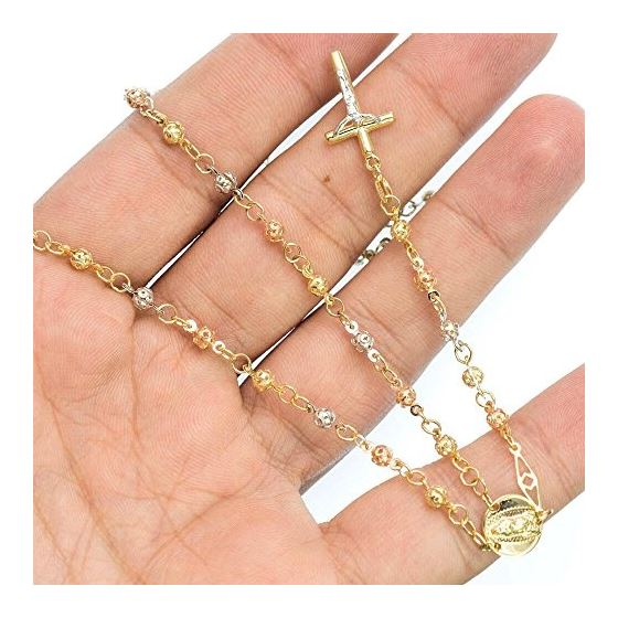 10K 3 TONE Gold HOLLOW ROSARY Chain - 28 Inches Long 3.5MM Wide 3